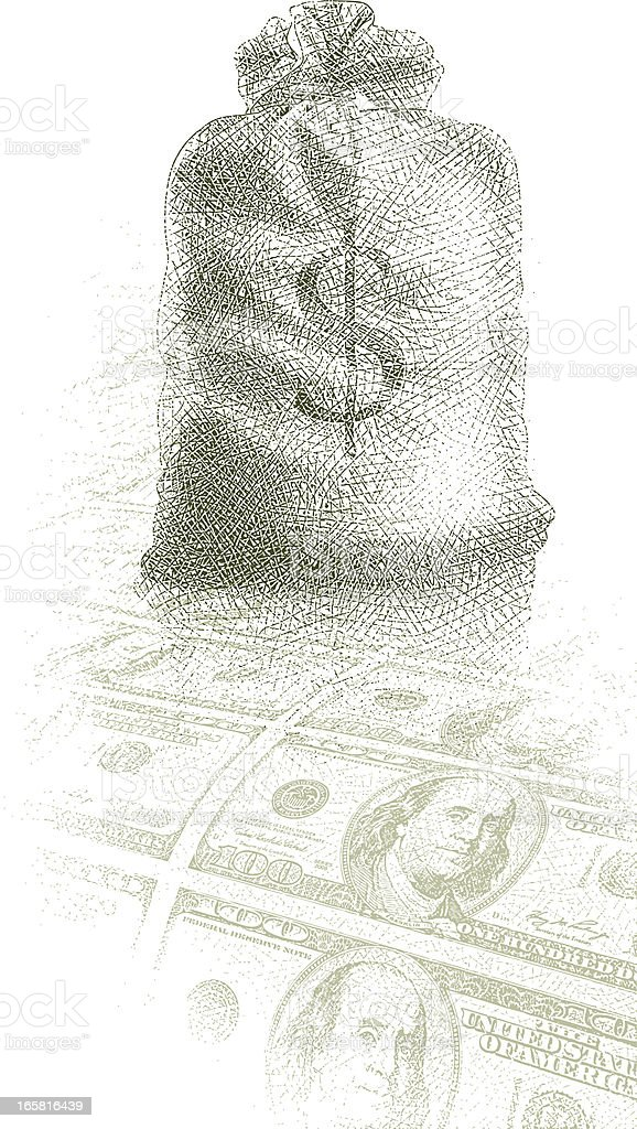 Money Bag and Sheet of Currency royalty-free stock vector art