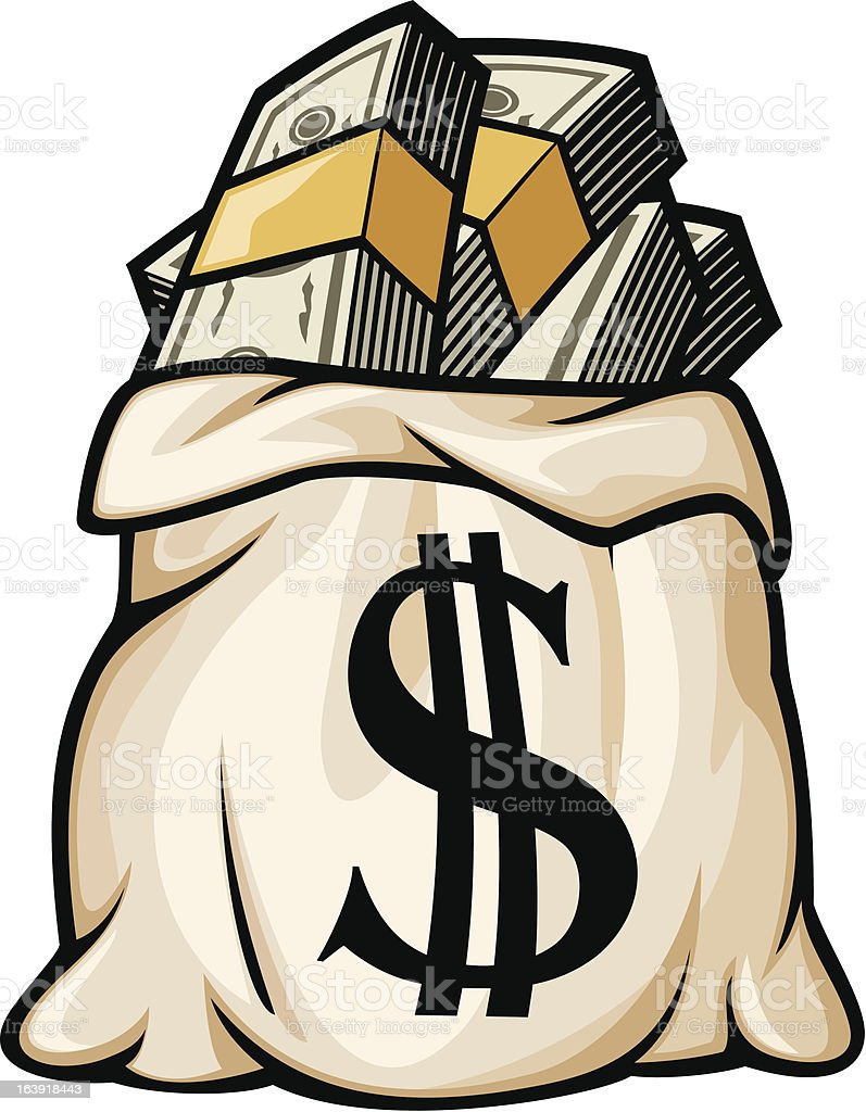 Money bag with dollar sign vector art illustration
