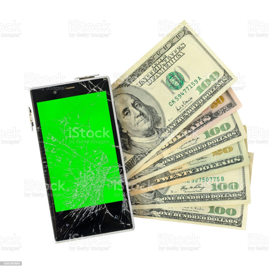 Money banknotes with broken Smartphone Isolated on white vector art illustration