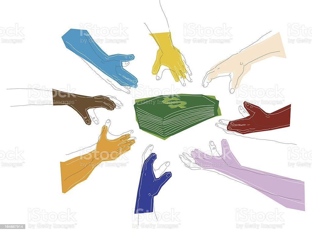 money grab vector art illustration