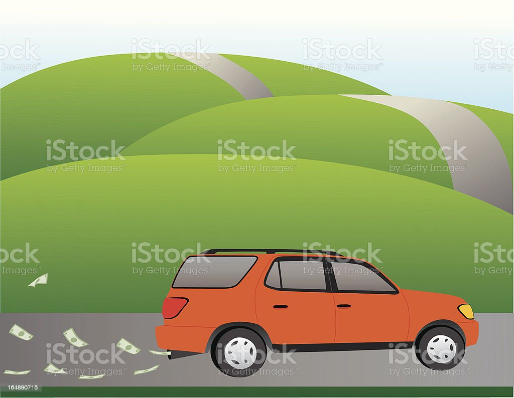 SUV Money Leak royalty-free stock vector art