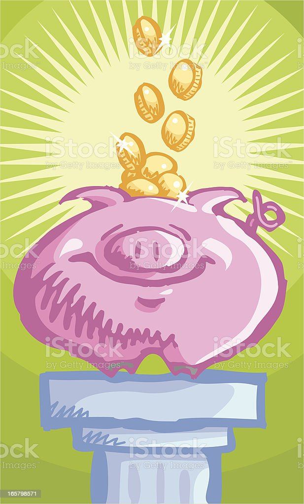 Money or gold in the piggy bank vector art illustration