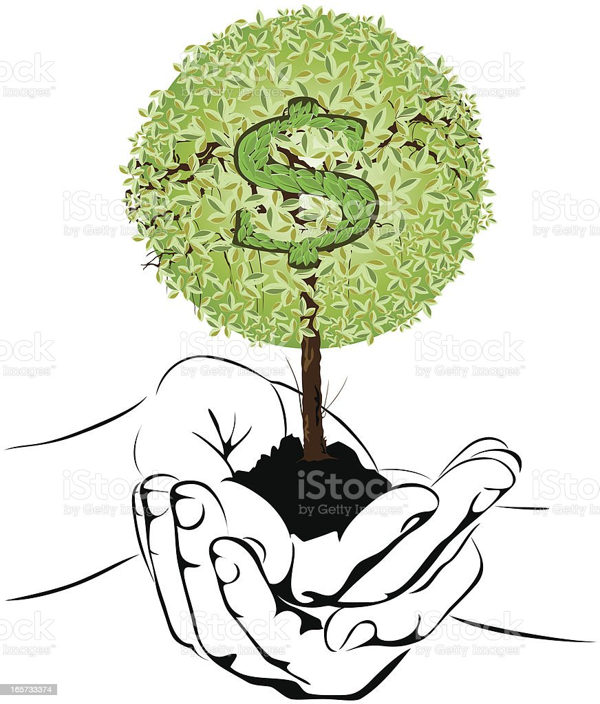money tree in hands vector art illustration