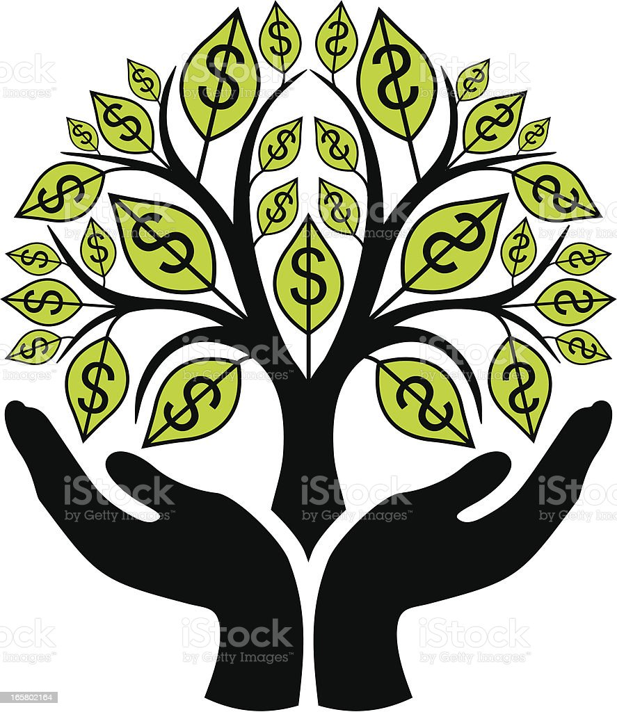 Money tree in hands royalty-free stock vector art