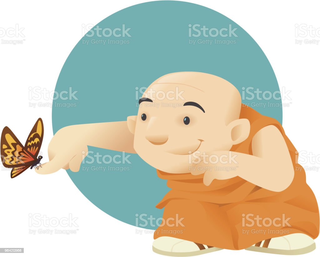 Monk and butterfly royalty-free stock vector art
