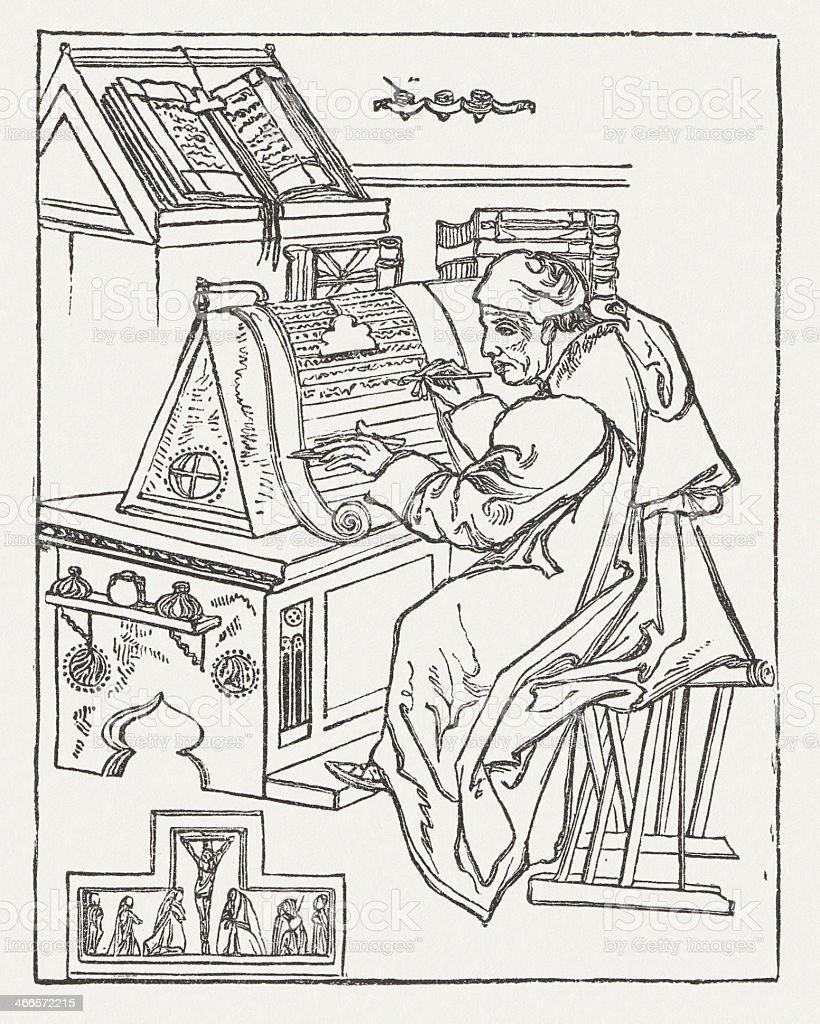 Monk at writing desk in the middle ages, published 1879 royalty-free stock vector art