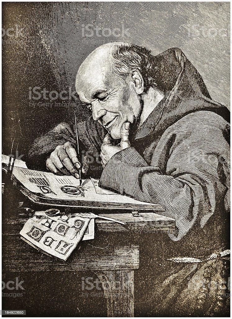 Monk Painting Illuminations - Victorian Steel Engraving royalty-free stock vector art