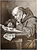 Monk Painting Illuminations - Victorian Steel Engraving