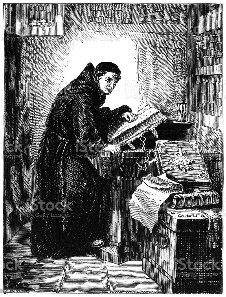 Monk reading in a library (Victorian engraving) vector art illustration