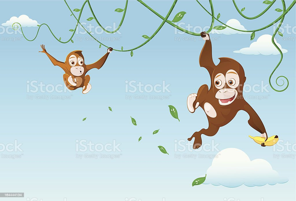 monkey in the sky royalty-free stock vector art