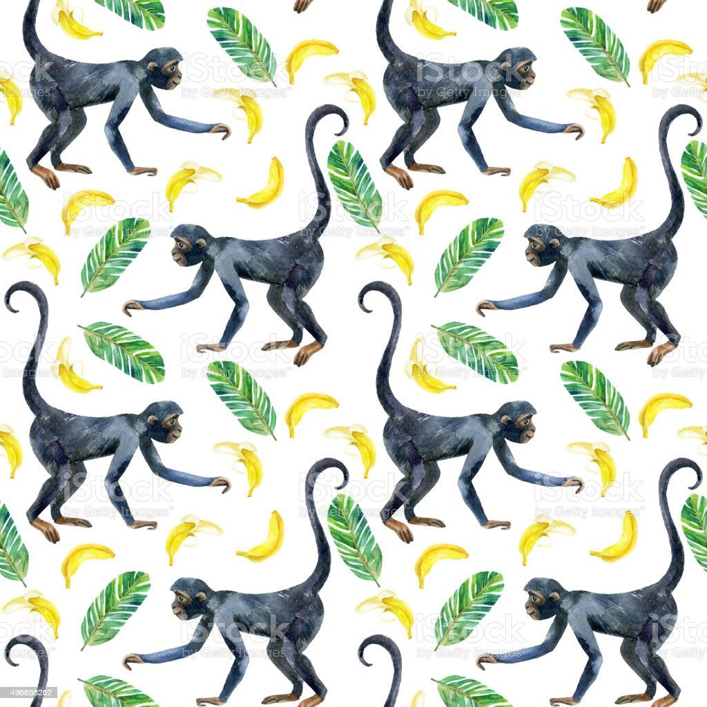 Monkey seamless pattern. vector art illustration