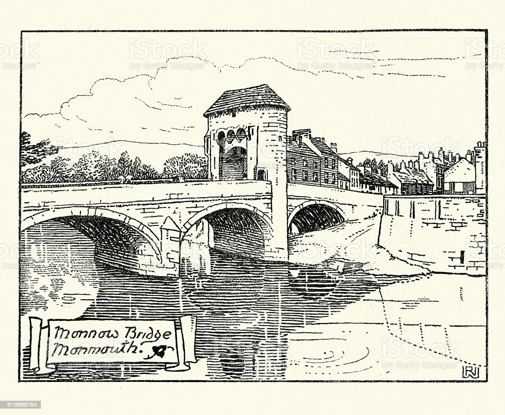 Monnow Bridge, Monmouth, Wales, 19th Century vector art illustration