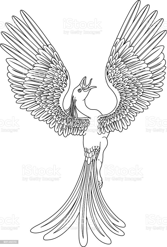 Monochrome phoenix royalty-free stock vector art
