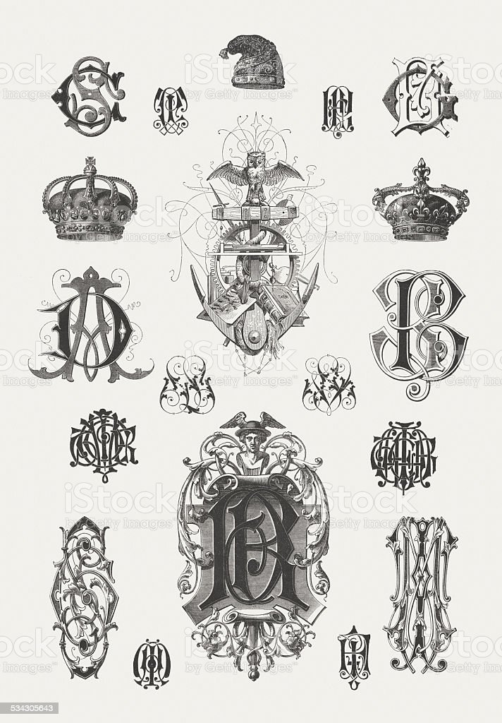 Monograms, designed by Martin Gerlach (1846-1918), wood engravings, published 1882 vector art illustration
