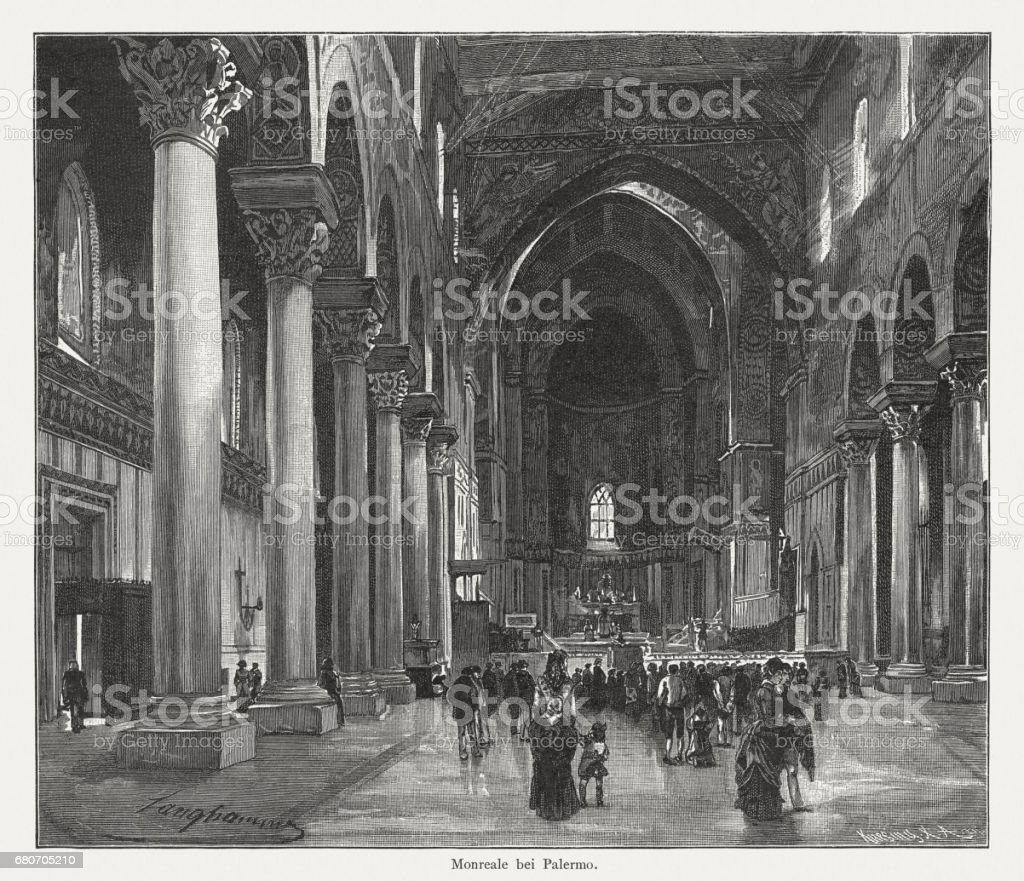 Monreale Cathedral near Palermo, Sicily, Italy, wood engraving, published 1884 vector art illustration
