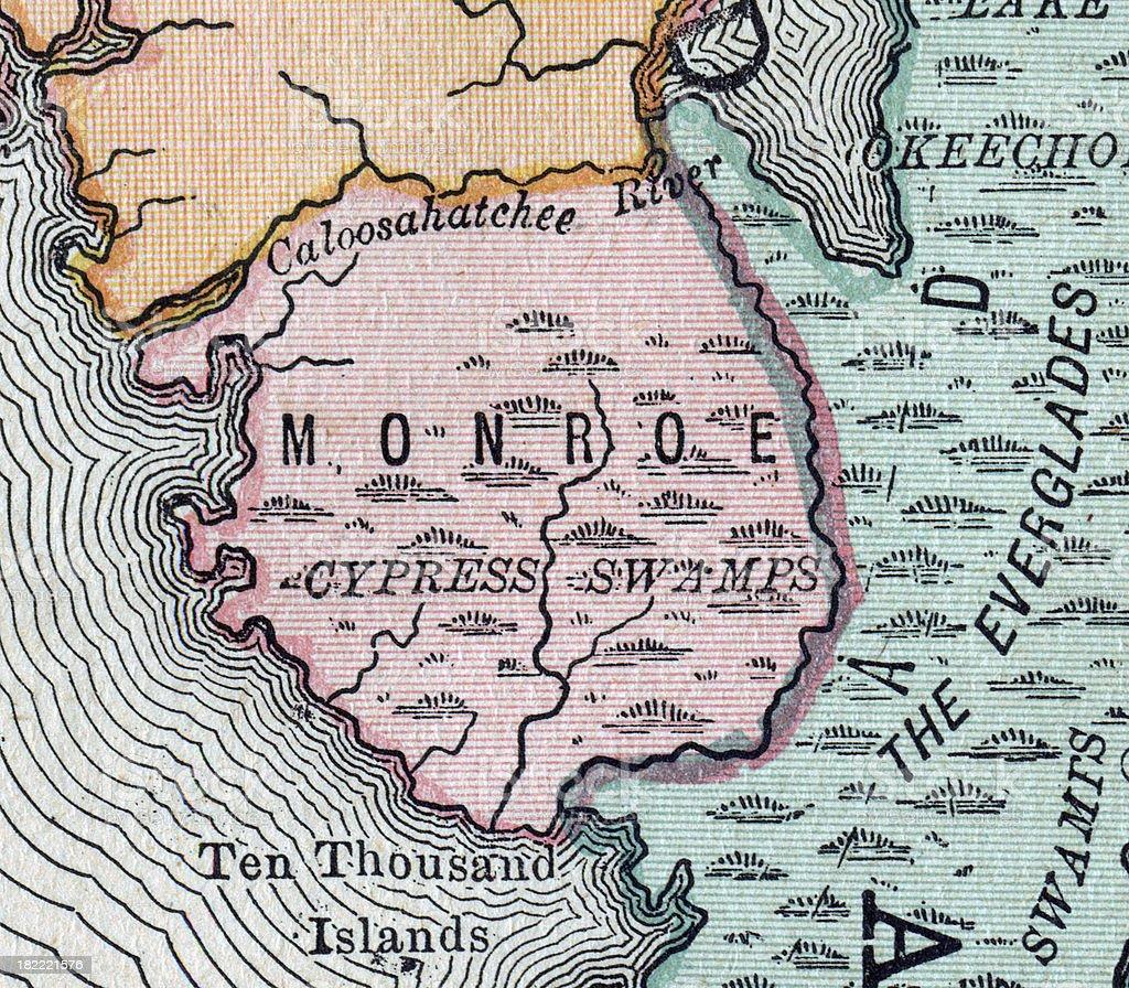 Monroe | Florida County Maps vector art illustration