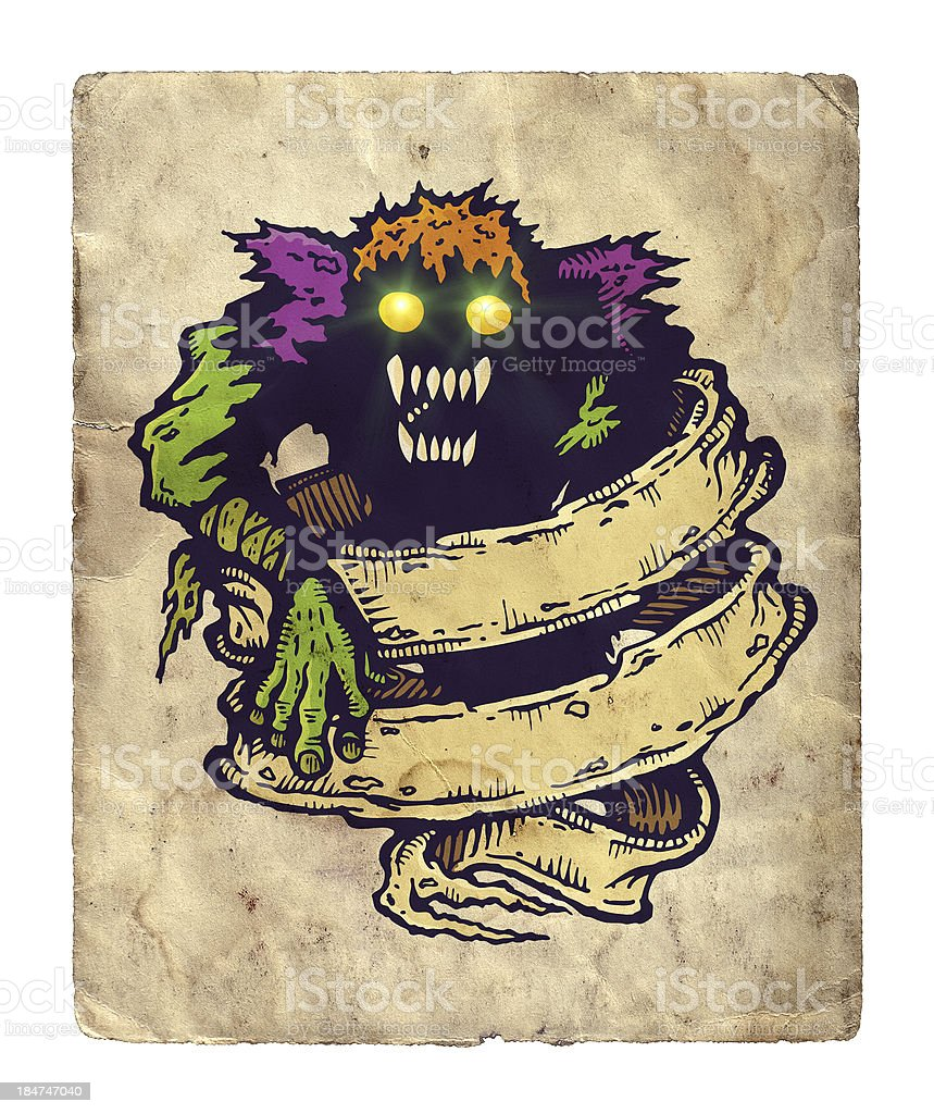 monster and old ribbon royalty-free stock vector art