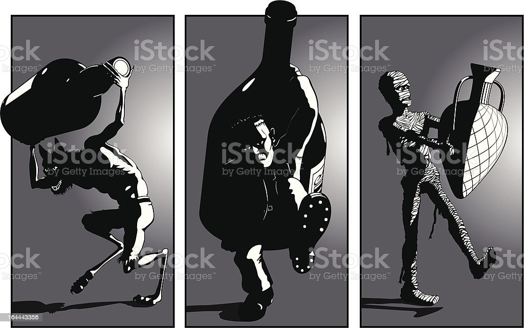 Werewolf, Frankensteins Monster and Mummy Carry Monster Bottles - perhaps to  a bring a bottle party? : Istockphoto
