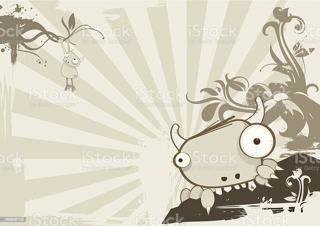 Monster eating rock royalty-free stock vector art