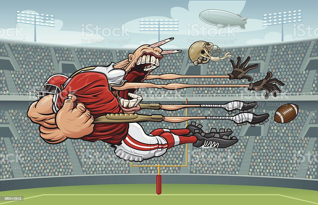 Monster Tackle (Pro - Daytime Version with Stadium) vector art illustration