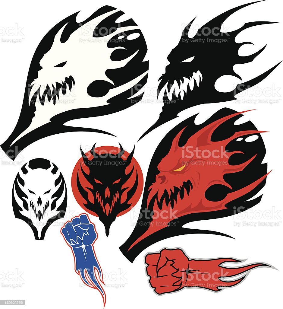 Monster`s heads and hands royalty-free stock vector art