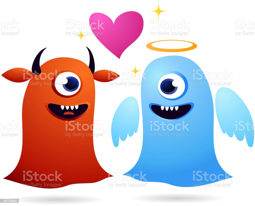 monsters in love royalty-free stock vector art