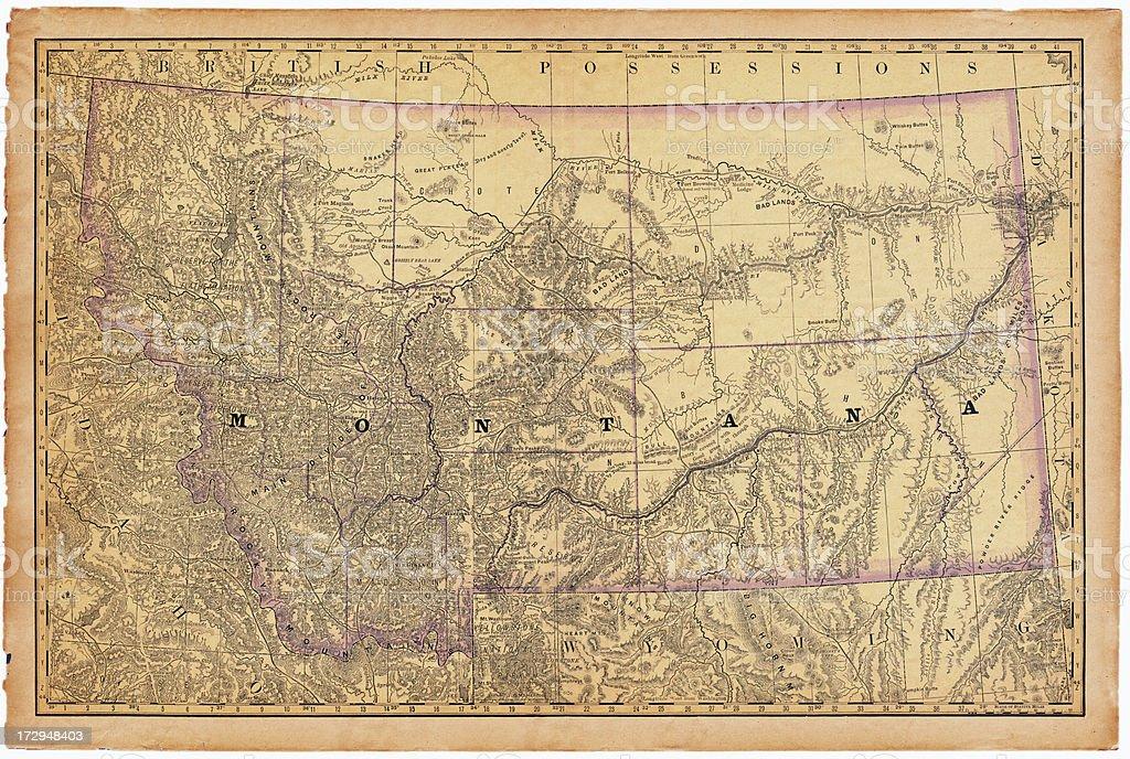 Montana Old Map royalty-free stock vector art