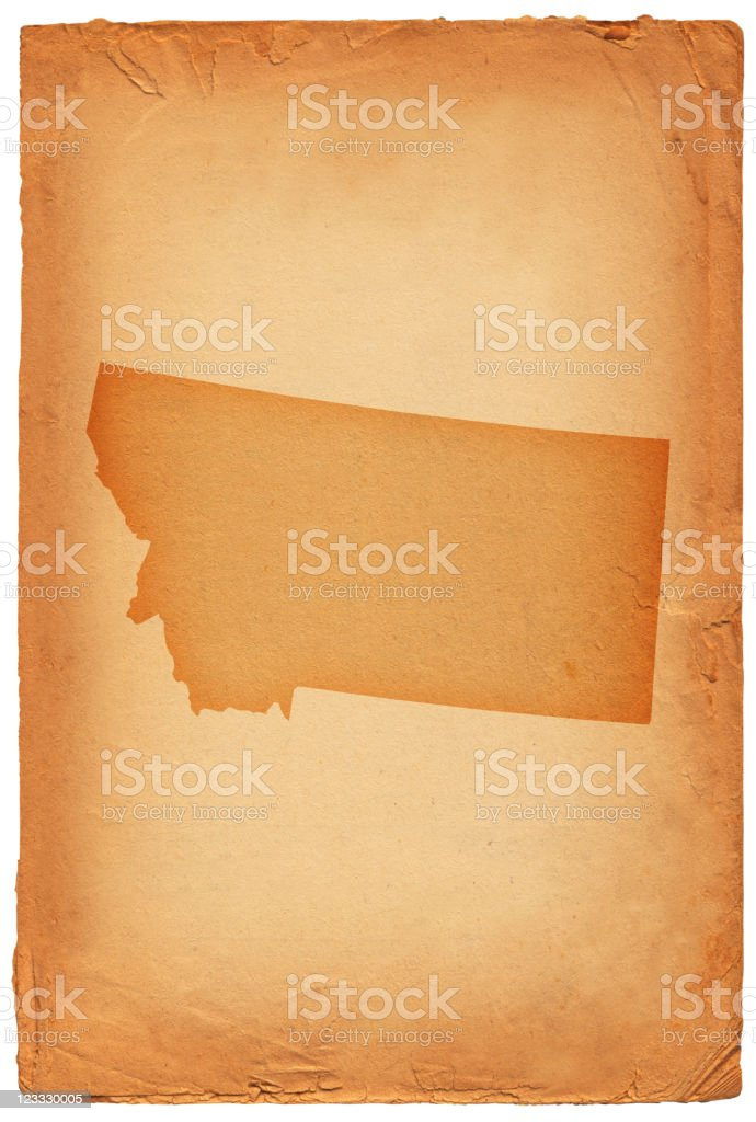 Montana state map on old paper Background royalty-free stock vector art