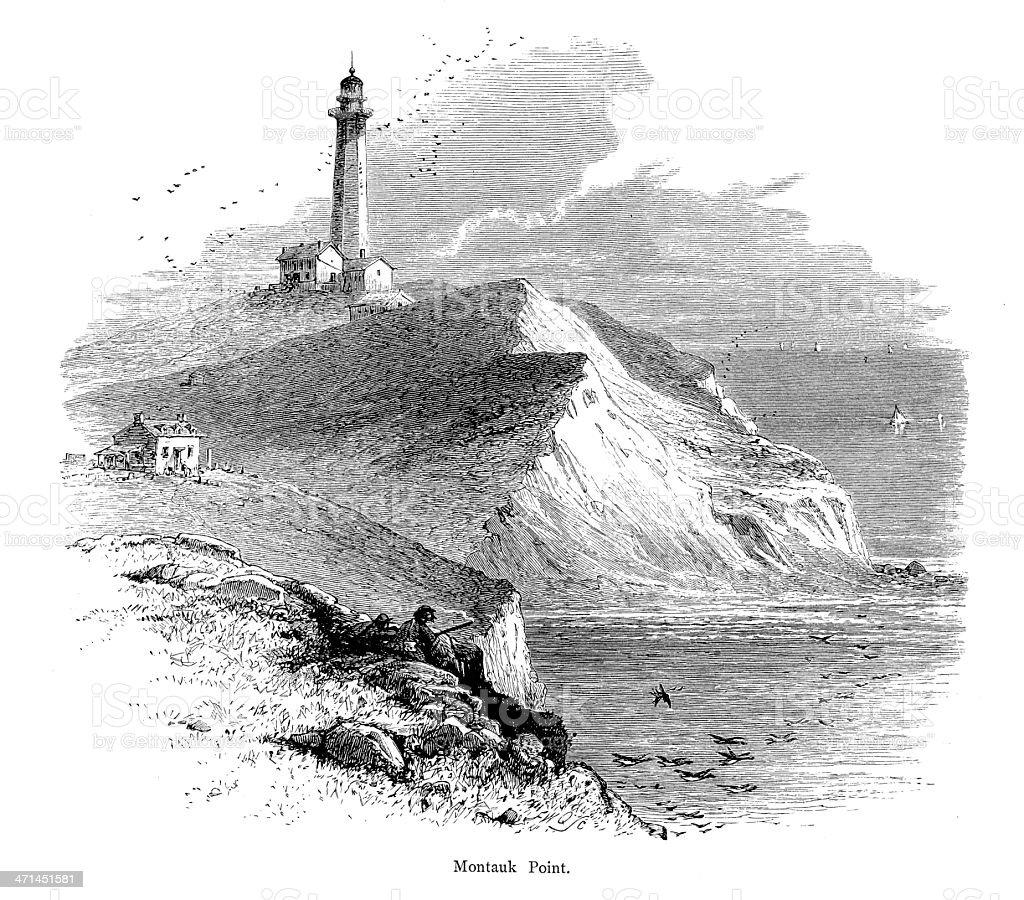 Montauk Point, Eastern Long Island | Historic American Illustrations vector art illustration