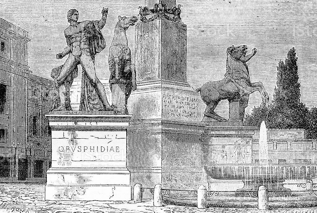 Monte Cavallo in Rome royalty-free stock vector art