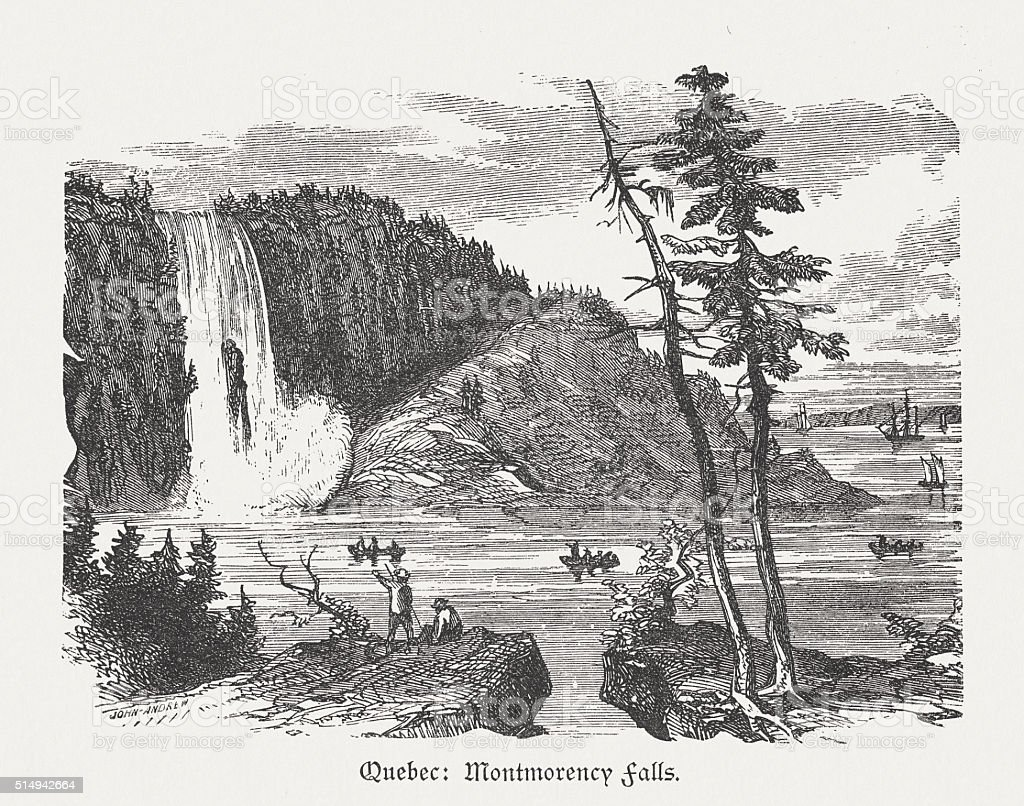 Montmorency Falls in Quebec, Canada, wood engraving, published in 1880 vector art illustration