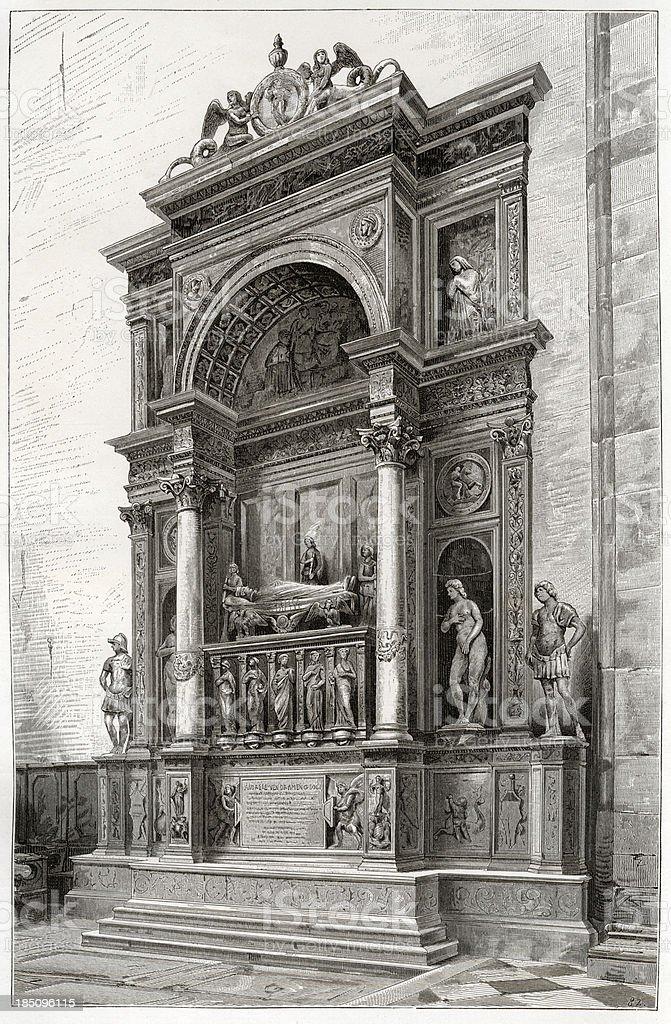 Monument, Doge Vendramin, Venice, Engraving, 1884 vector art illustration