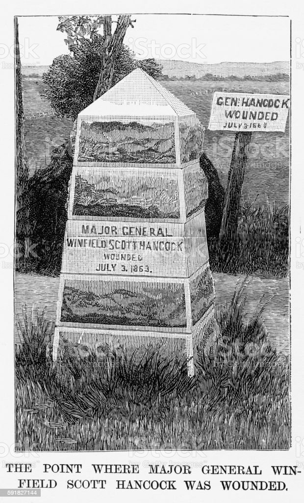 Monument Honoring General Winfield Scott Hancock Civil War Engraving, 1865 vector art illustration