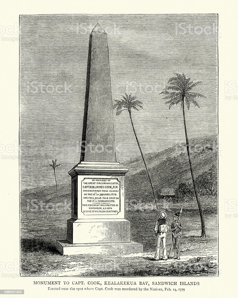Monument to Captain James Cook vector art illustration