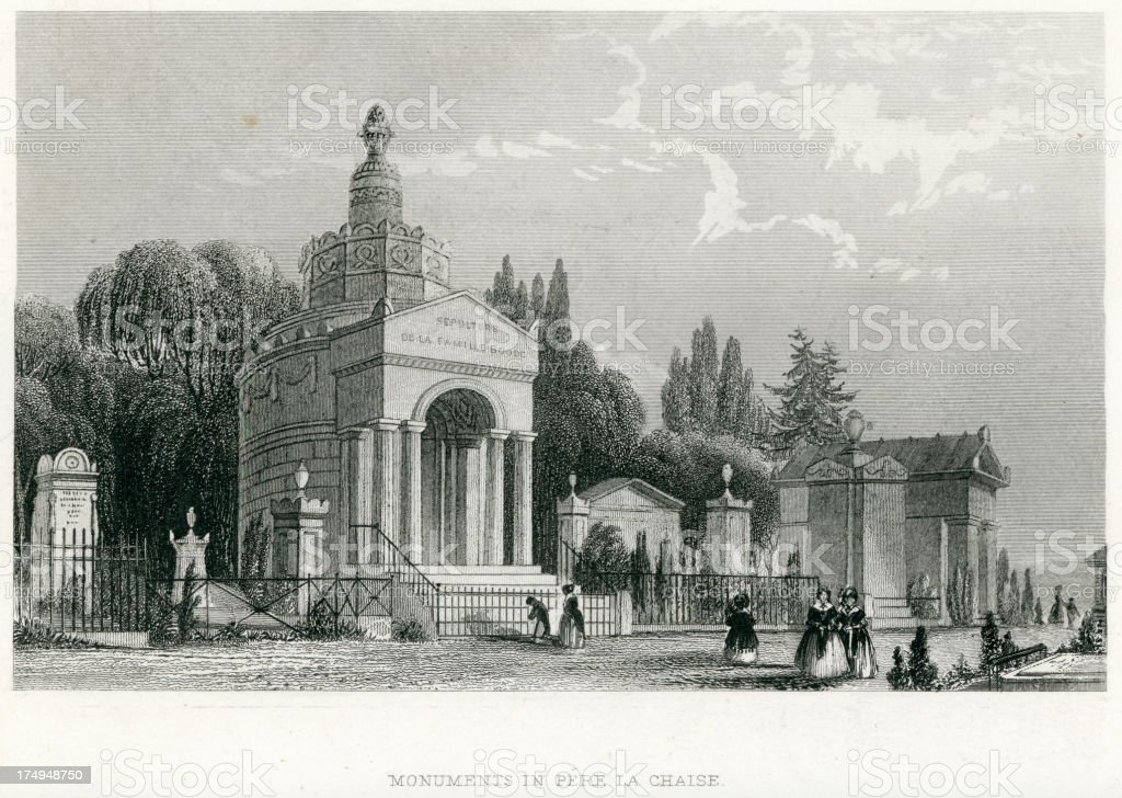 Monuments in Pere La Chaise, Paris royalty-free stock vector art