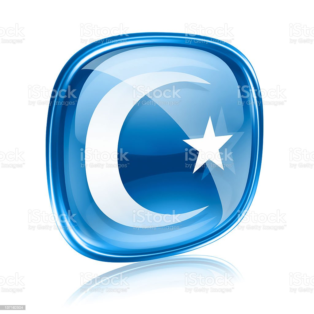 moon and star icon blue glass, isolated on white background. royalty-free stock vector art