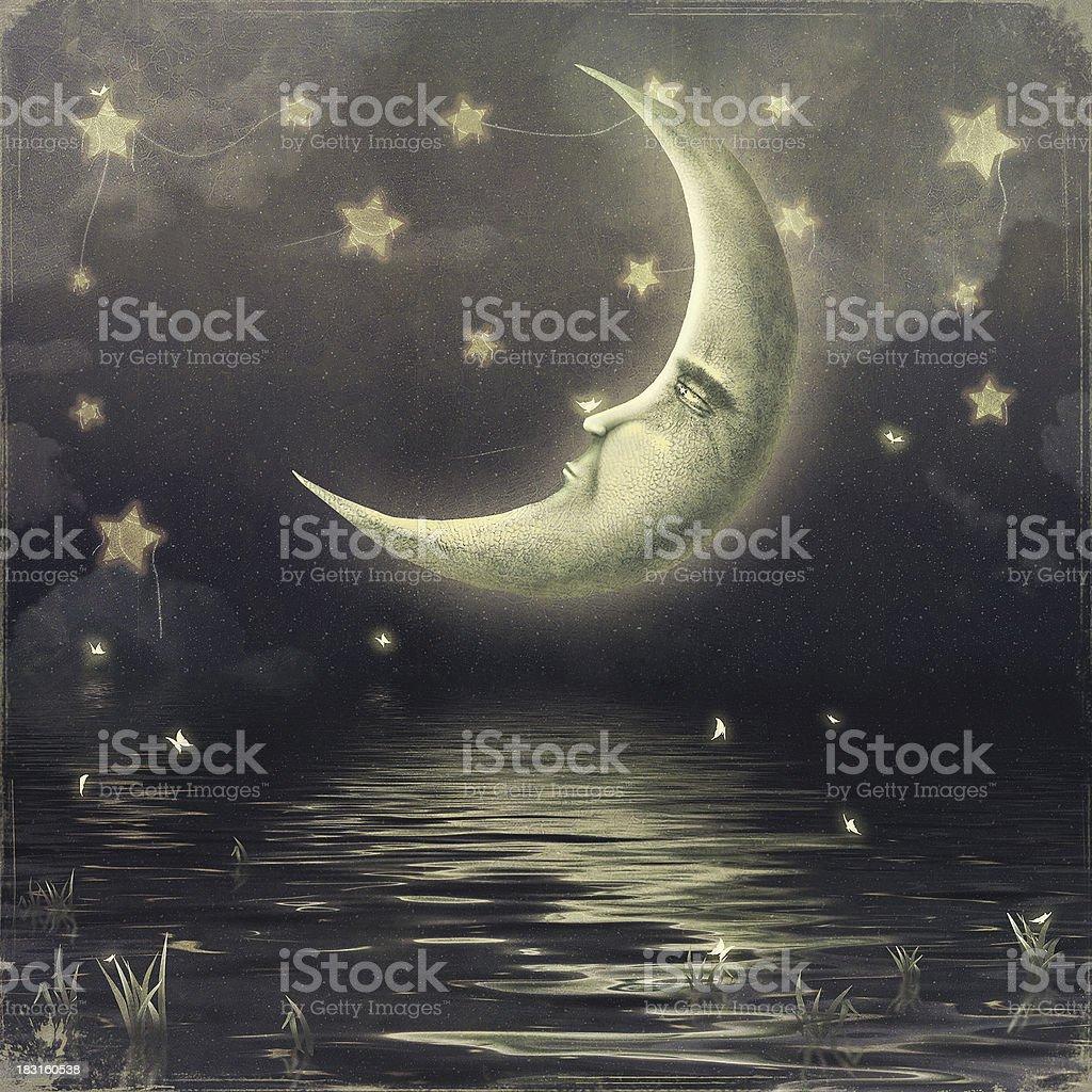 Moon in the sky vector art illustration