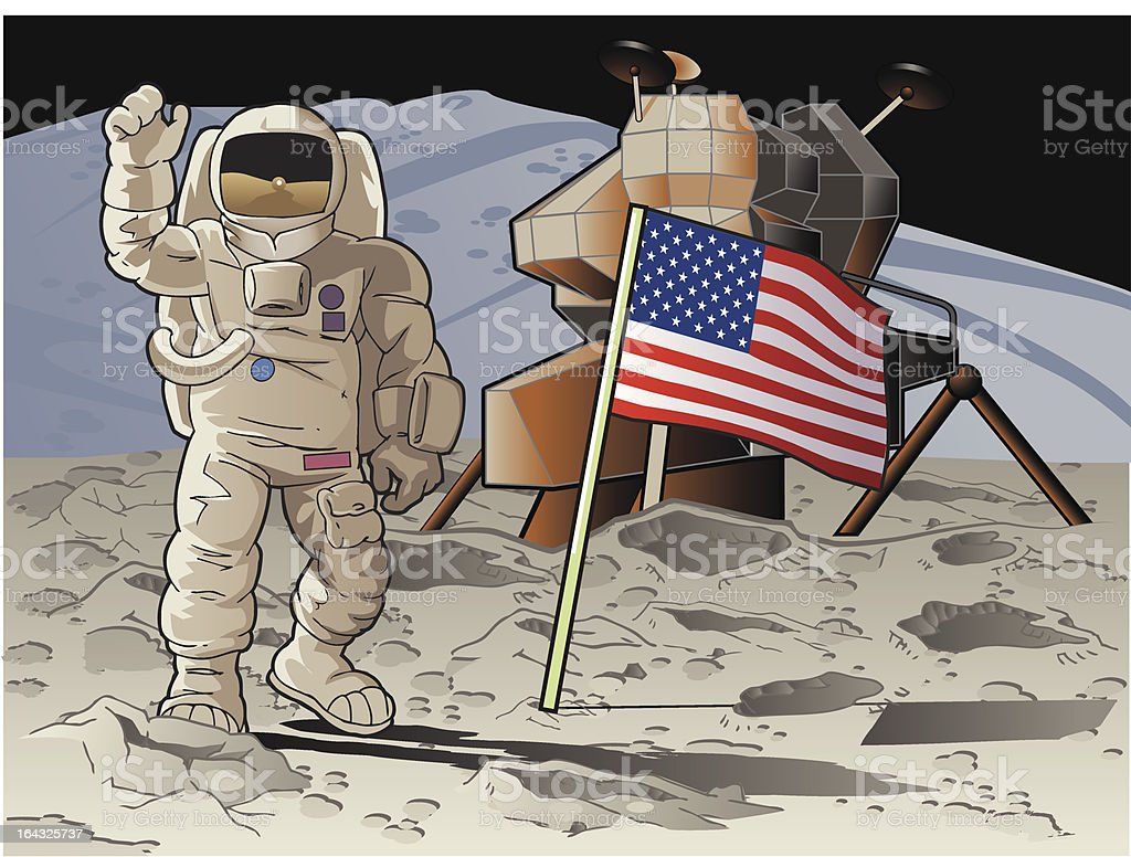 Moon Landing with American Flag royalty-free stock vector art