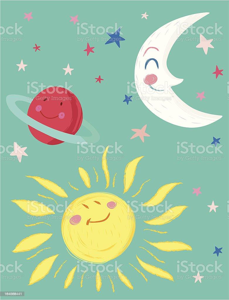 Moon, Sun, Planet and Stars royalty-free stock vector art