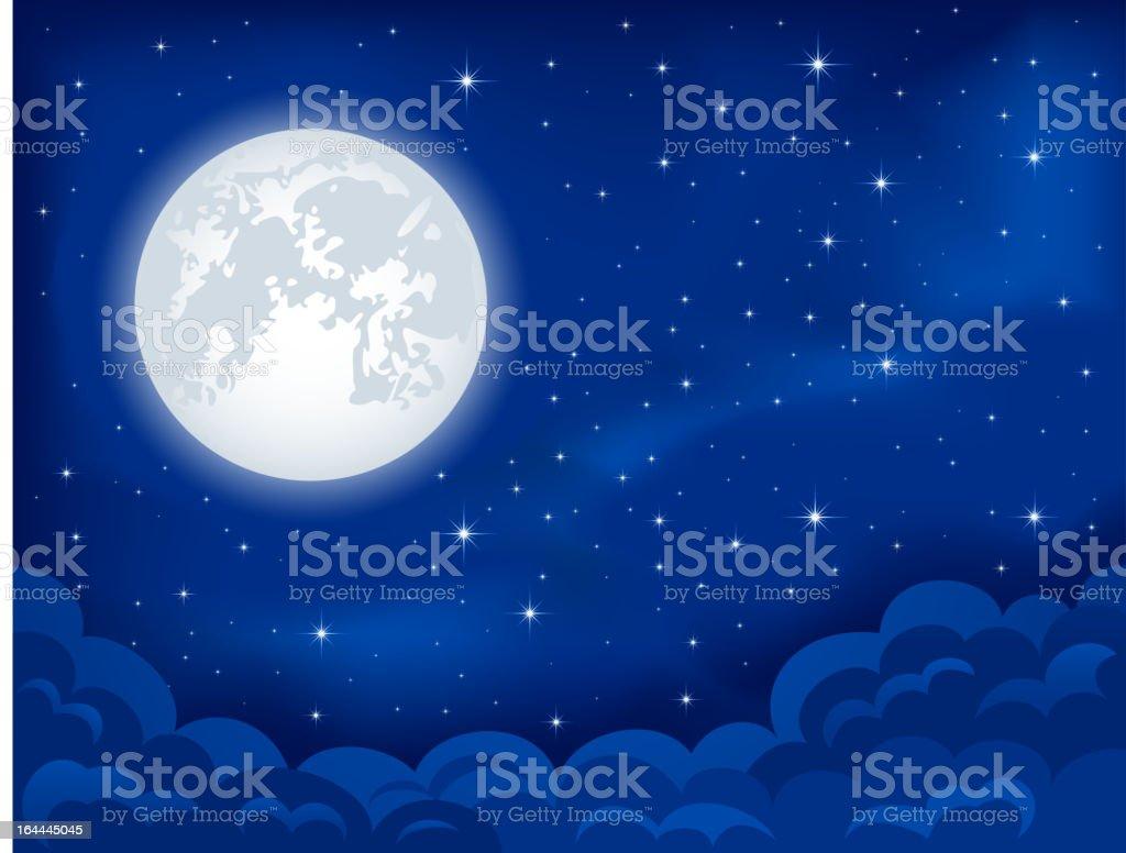Moonlight vector art illustration