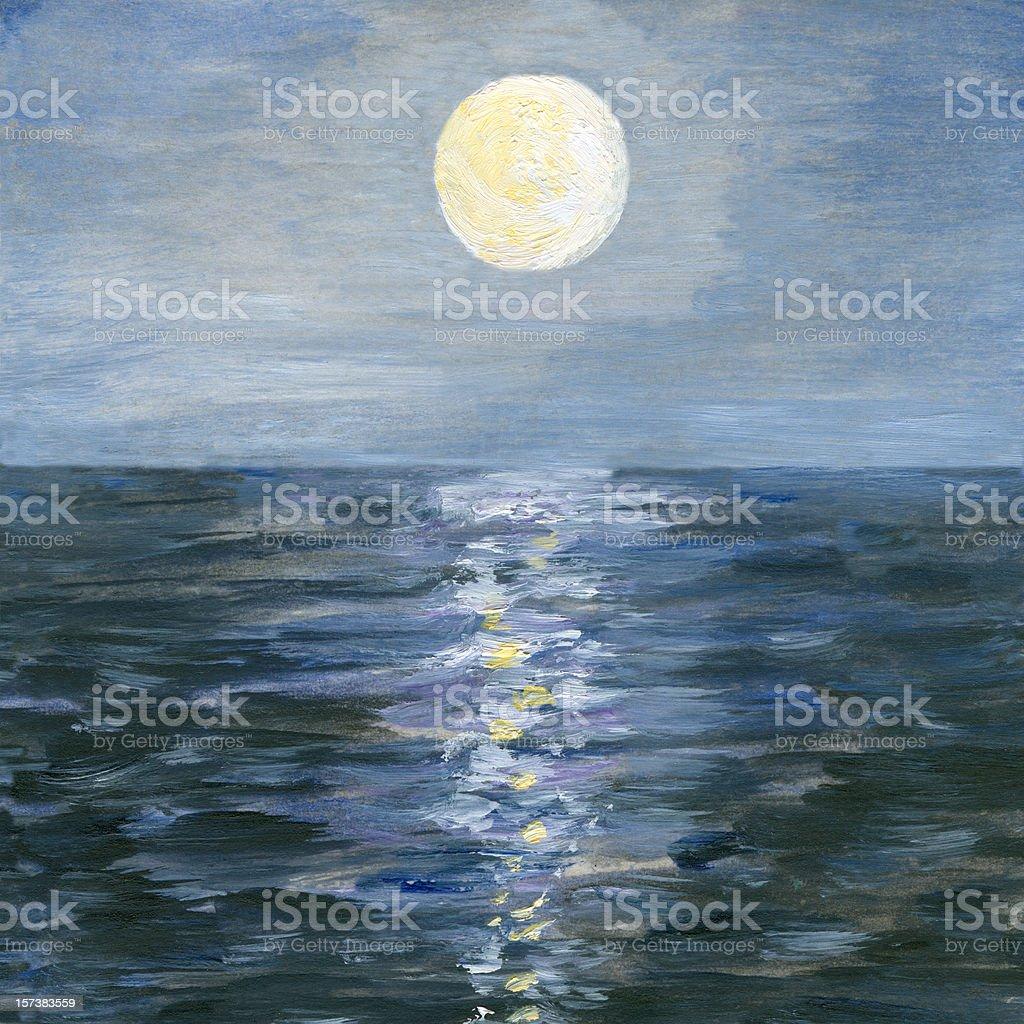 Moonlight Reflection in the Sea vector art illustration