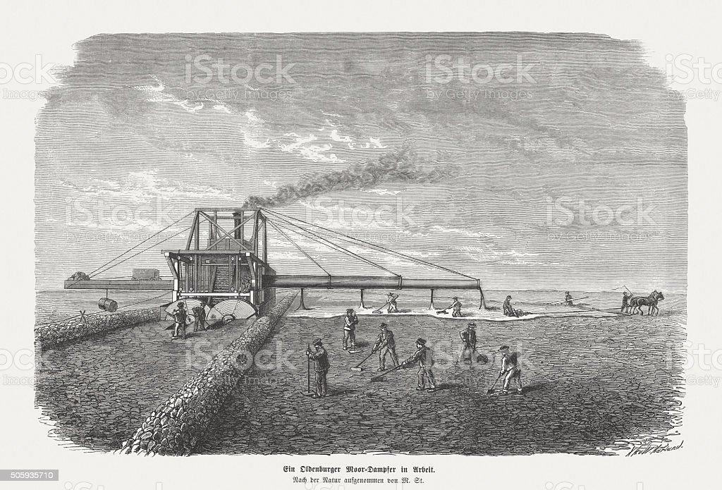 Moor steam lokomobile, wood engraving, published in 1873 vector art illustration