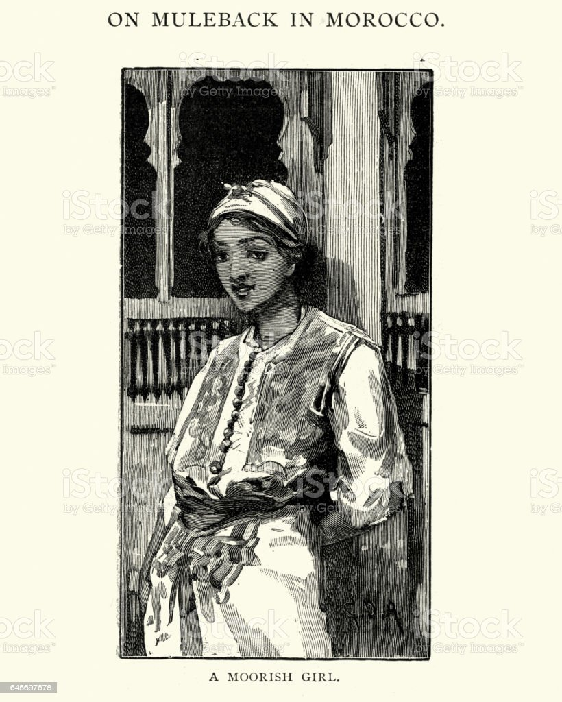 Moorish girl, 19th Century vector art illustration