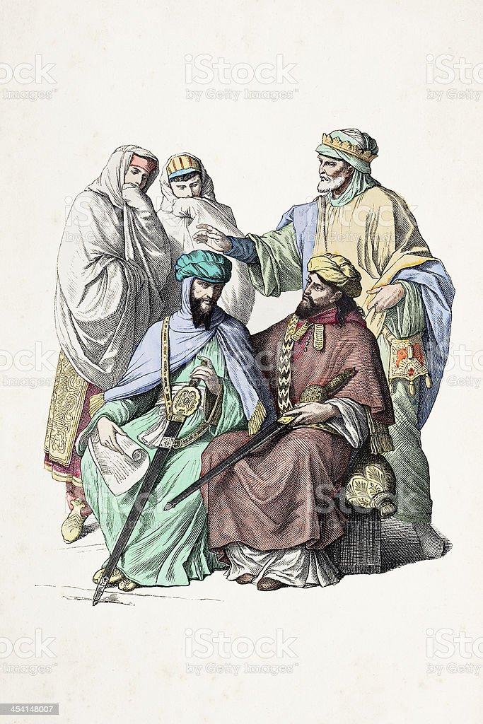 Moorish princes in traditional clothing 9th century royalty-free stock vector art
