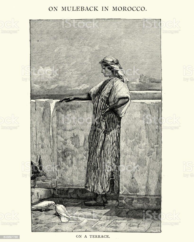 Moorish woman on a terrace, 19th Century vector art illustration