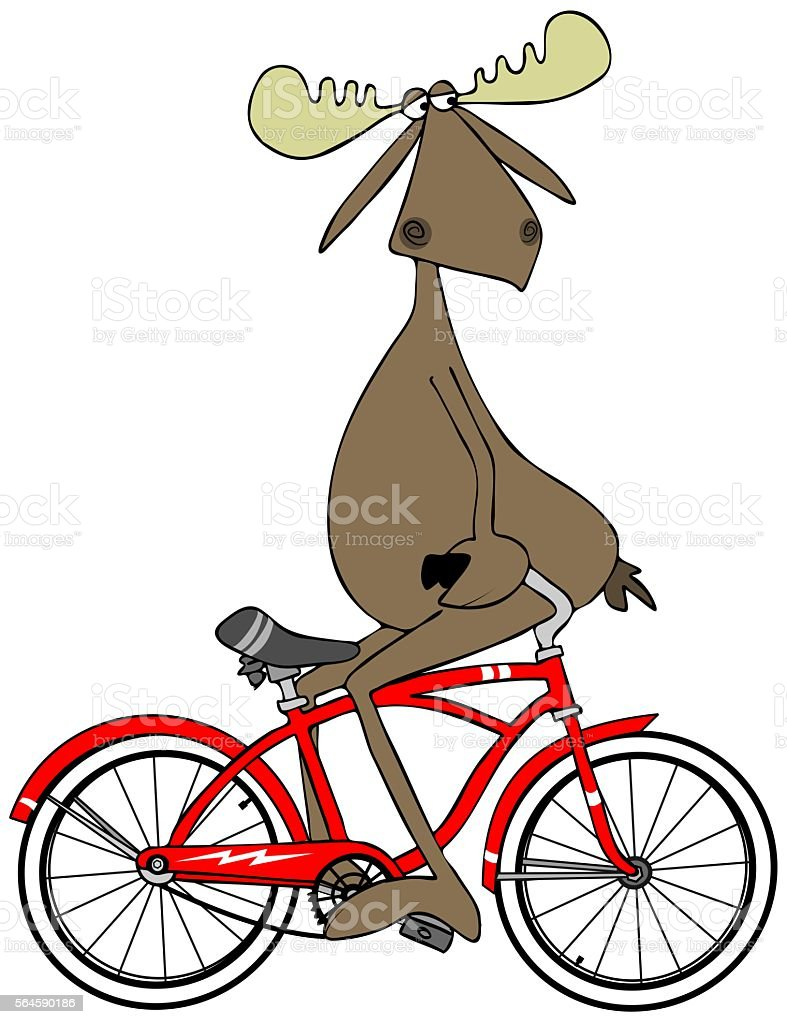 Moose pedaling his bike backwards vector art illustration