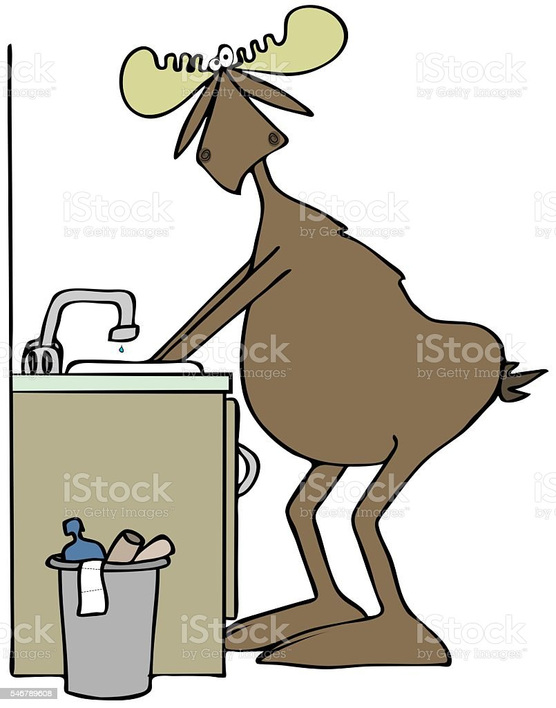 Moose washing his hands in a sink vector art illustration