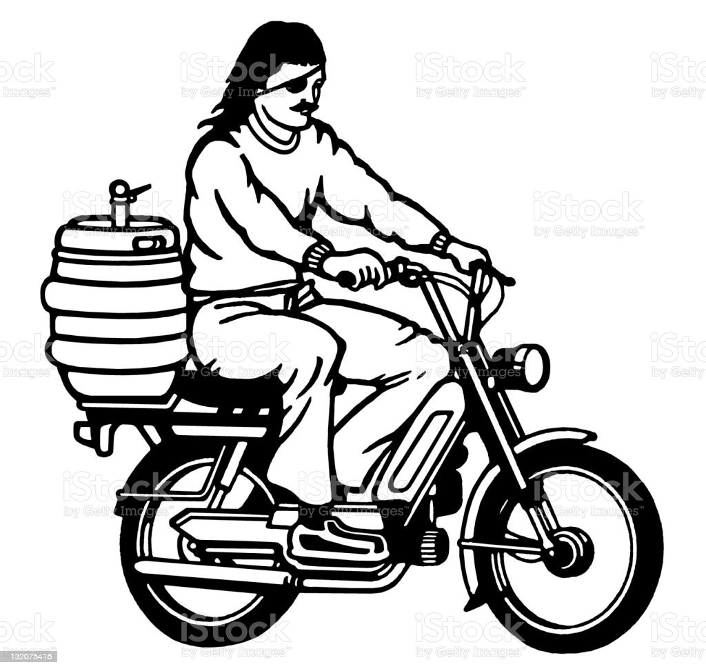 Moped Guy With Keg on the Back royalty-free stock vector art