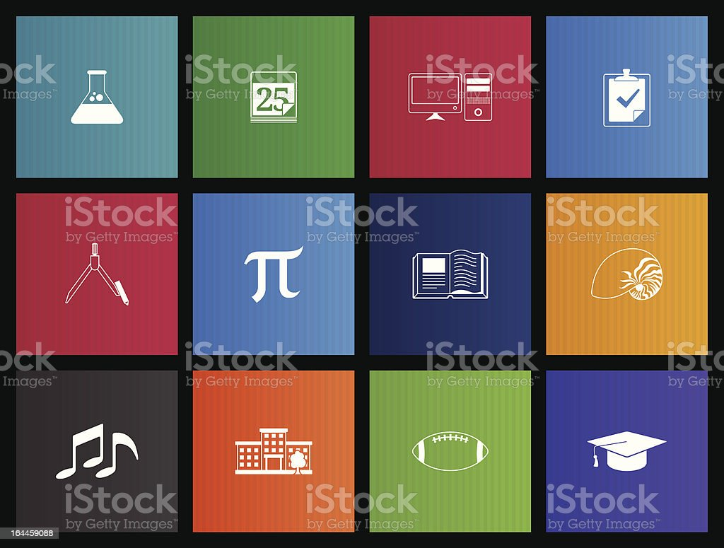 More School Icons vector art illustration