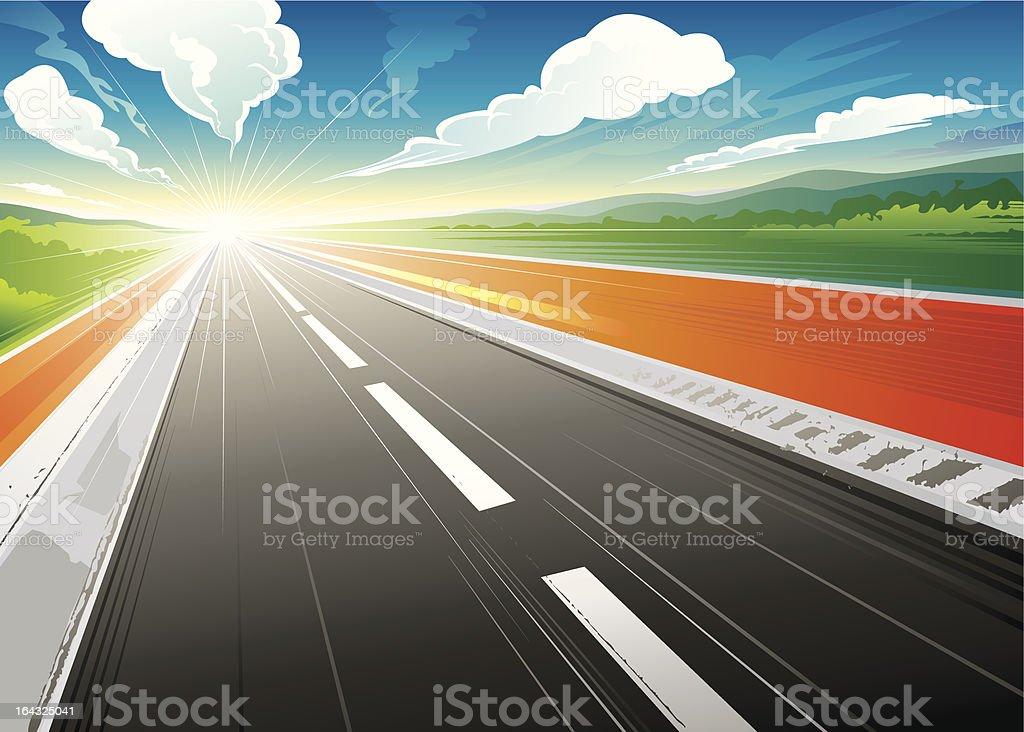 Morning at Road vector art illustration